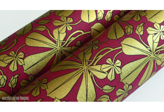 Papier italien Liberty Leaves rouge et or